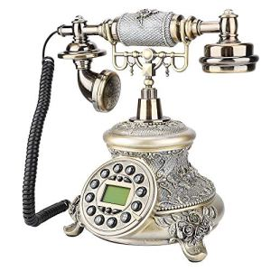 ASHATA Telefono retr Telefono Europeo Vintage con Cavo Telefono Cordless FSKDTMF Telefono Fisso Telefono da Tavolo con Display LCD per la Casa