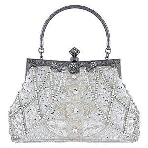 Bagood pochette vintage da donna borsa da sera borsa a tracolla con perline e paillettes per matrimoni feste di ballo di fine anno Argento Etichettalia unica