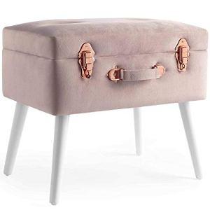 Beautify Sgabello Ottomano Pouf Poggiapiedi con Contenitore in Velluto Rosa 2 in 1  Velluto morbido al tatto  Rosa con borchie rosa dorate