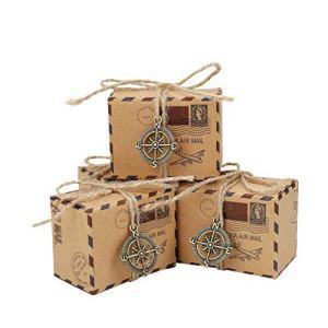 Bomboniere Scatole Regalo 50pcs Vintage Sacchetto di Caramelle di Carta Kraft Ideale per Confetti Caramelle cioccolatini Gioielli e Regali Piccoli