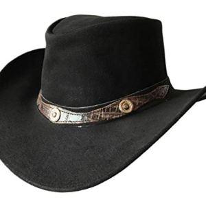 BRANDSLOCK Mens Vintage Grande Bordo del Cowboy Australiano di Stile Occidentale Bush Cappello L Nero