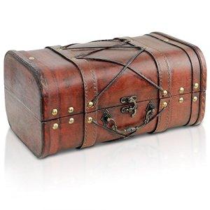 Brynnberg Scrigno del Tesoro Vintage Bauletto Stile Antico per Accessori Gioielli Oggetti di Valore Cassaforte in Legno Idea Regalo Decorativa 29x18x14cm