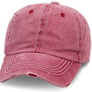 Cappellino con Visiera  Berretto da Baseball  Uomo  Donna  Cotone  Jeans  Slavato  Taglia Unica per Adulti  Vintage Rosso