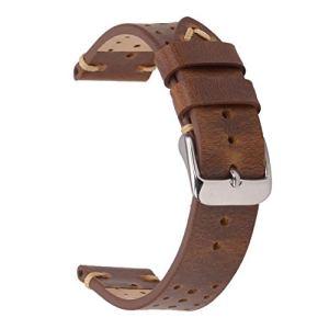 Cinghie per orologio da corsa Rally 18mm cinturini per orologi vintage in cuoio perforato EACHE Retro marrone oro