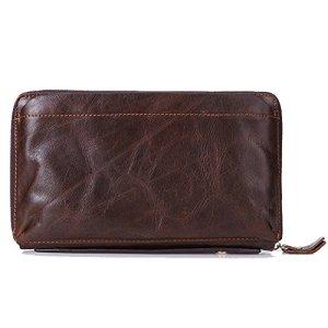 Gendi maschile portafoglio marrone della pelle bovina uomini Pochette Vintage 100 vera pelle frizione sacchetto di mano doppia cerniera borsa per Maschio caff