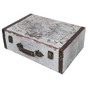 HMF 6430138 Valigia in Legno Vintage  38 x 26 x 13 cm  Grande  Decorazione Mappa del Mondo