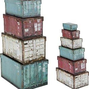 Home Collection Mobili Decorazione Organizzazione Set di 10 Scatole di Cartone Motivo Container Industriali ca 25 x 17 x 15 cm a 85 x 4 x 3 cm