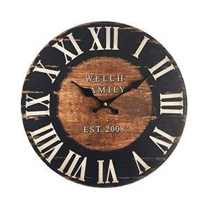 Rebecca Mobili Orologio da Parete Grande Orologi a Muro Mdf Marrone Nero Industrial Rotondo  Misure 338 x 4 x 338 cm  Art RE6152