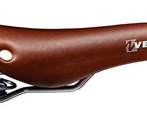 Sella per bicicletta vintage con molle elicoidali e rivetti colore marrone