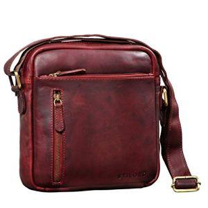 STILORD Hugo Borsello Pelle Morbida Uomo Borsa Tracolla Piccola Vintage Borsetta Messenger Cross Body Bag per Tablet 97 pollici Colorerosso