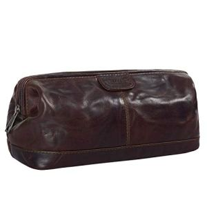 STILORD Laurin Beauty Case uomo in pelle Trousse da viaggio Porta trucco rigido Portatrucco Pochette vintage cuoio Coloreespresso  marrone