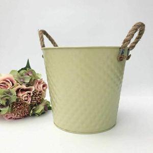 Vintage centrotavola in metallo per piante da giardino con manici in corda 24cm Chartreuse  Maglia a nido dape 24 cm