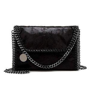 Wewo Borse Donna Pelle Piccola Borsa Tracolla Pochette Borsetta Vintage Women Handbag Casual Elegant Borsa a Mano Mini Nera Crossbody Schwarzb