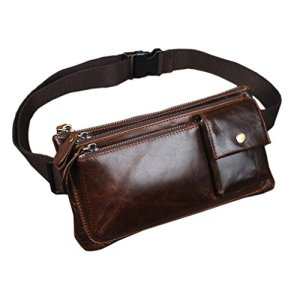 Xieben Vintage Marsupio per Uomo Donna Viaggi Escursionismo Running Hip Bum Cintura Slim Cell Phone Purse Wallet Pouch Coffee