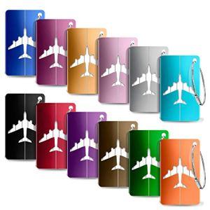 Yosemy Viaggio bagagli Tag 12 Pezzi Valigia bagagli Bag Tag Alluminio ID viaggio borsa Tag Etichette per Valigia Tag Viaggio Holiday Deposito bagagli Tagpezzi Colore diverso