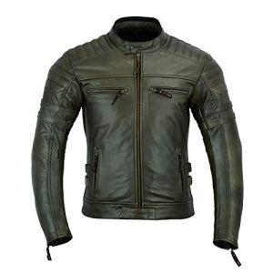Giacca da moto in pelle da uomo con protezioni armour stile vintage consumato colore marrone DC4092