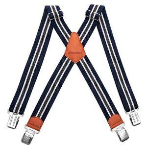 HBselect Bretelle Uomo Elastiche Bretelle Uomo con 4 Clip Accessori da Uomo Eleganti Bretelle Righe Vintage Adatto per Uomo e Donna Forma di X Blu Righe Vintage