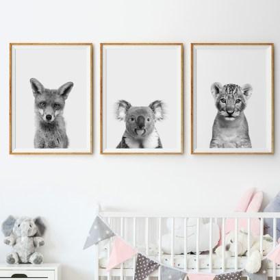 """""""Fox"""", """"Koala"""" e """"Lion"""" di Finlay and Noa, poster con cornice"""
