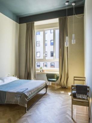 Exhibition space / hotel room at BASE Milano. Photo: Serena Eller