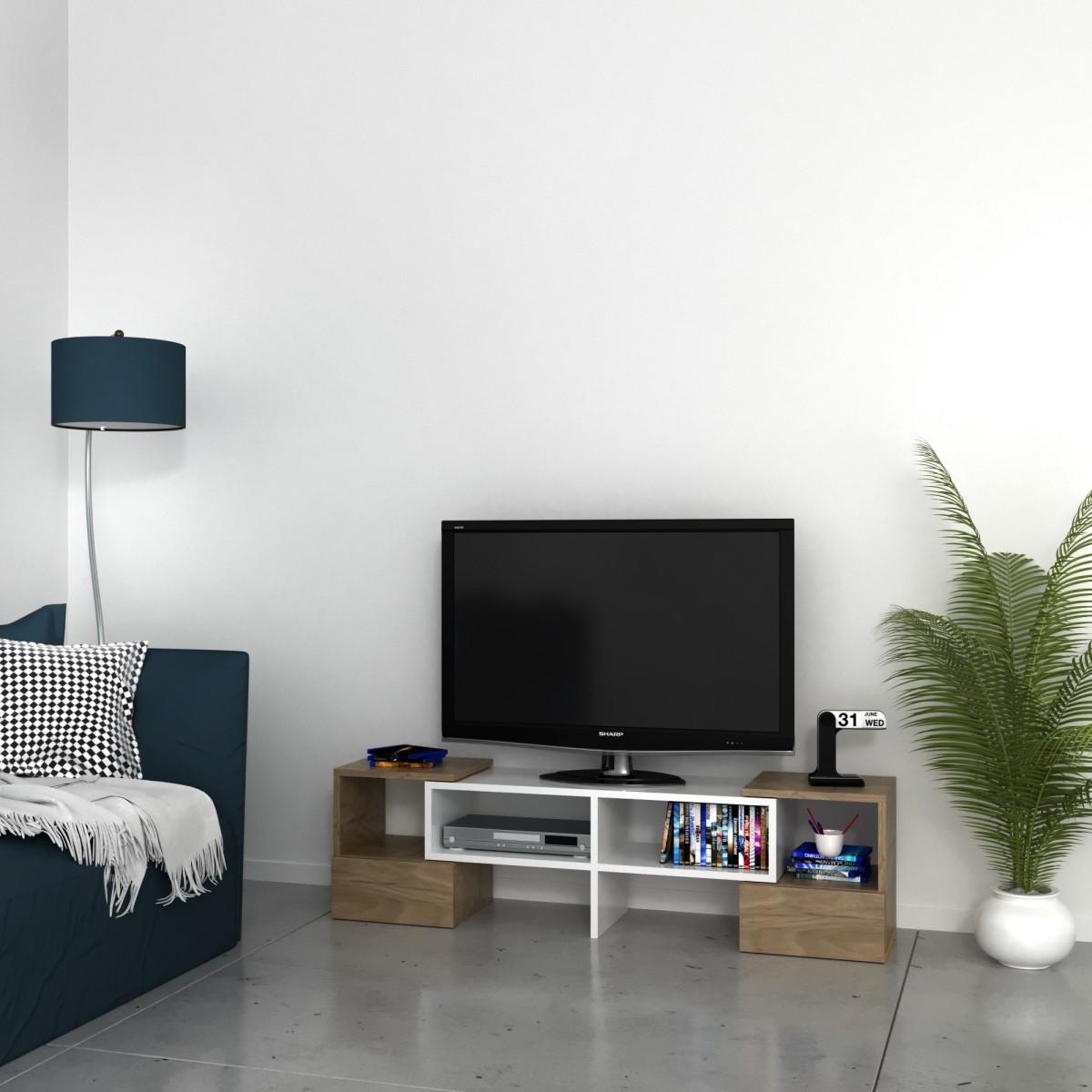 Mobile TV angolare per soggiorno in legno bianco Harrison