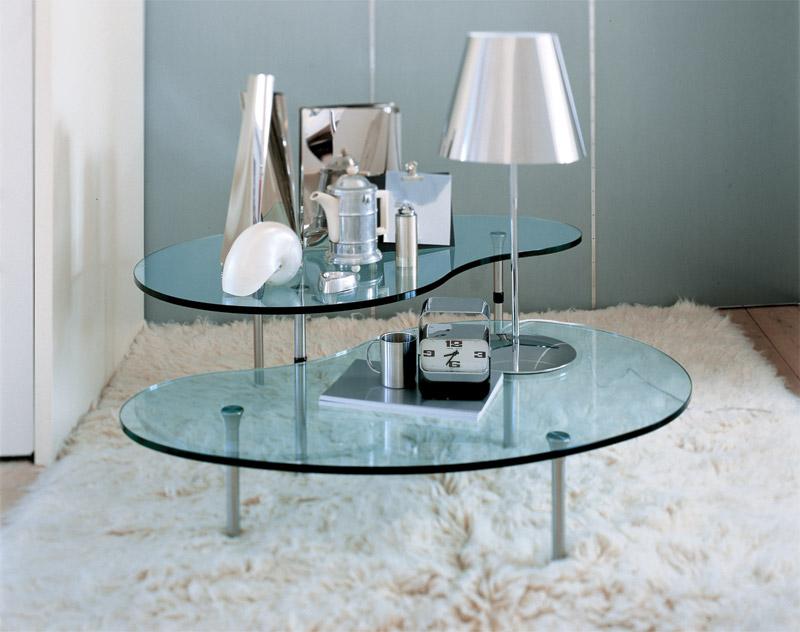 Tavolini bassi moderni con piano in cristallo  Arredica