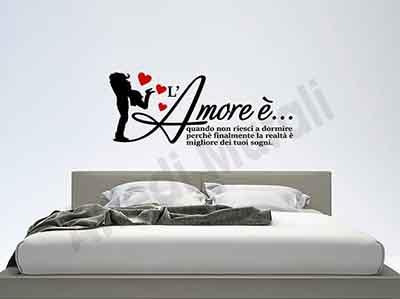 Kostenlose lieferung an den aufstellort sowie kostenlose rückgabe für qualifizierte artikel Adesivi Murali Frase D Amore Per Decori Camera Da Letto Arredi Murali