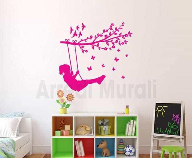 Acquista 300 a 1,25 € ciascuno e risparmia 22%. Adesivi Murali Bambina Sull Altalena Decorazioni Adesive Per Camerette