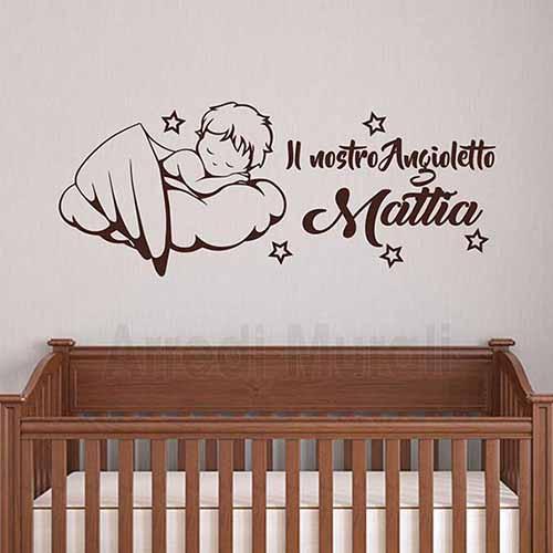 Design farfalla decalcomania arte adesivi murali camera decorazione magnetica mr. Adesivi Personalizzati Neonati Angioletto Con Nome Bimbo O Bimba