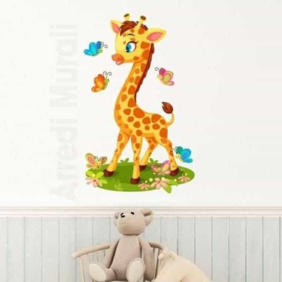 Oggi lo shopping è per la decorazione della cameretta; Adesivi Murali Bambini Con Giraffa Colorata Stickers Colorato Per Camerette