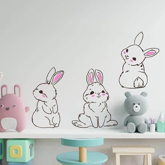 Adesivi murali bambini personalizzati per la cameretta con nomi in vari colori. Adesivi Murali Coniglietti Per Bambini Decorazioni Adesive Per Camerette