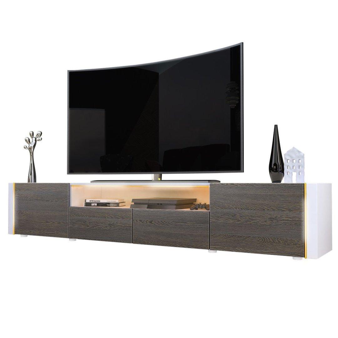 Casanova porta TV moderno mobile soggiorno bianco con led