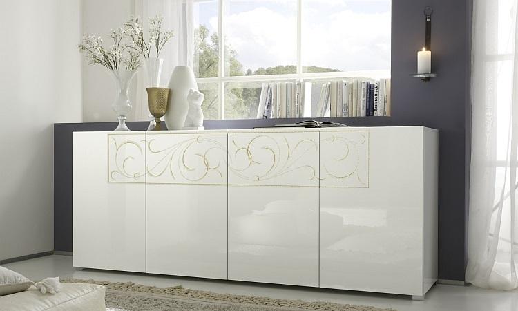 Madia moderna Romantica M credenza bianca e glitterata di design