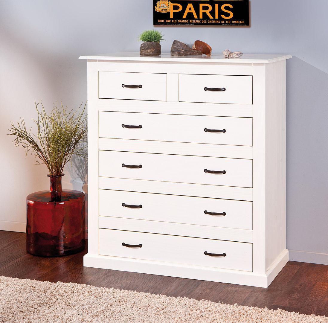 Nora cassettiera moderna bianca mobile in legno massello