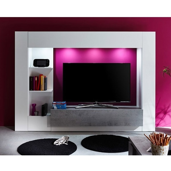 Parete porta TV Jane mobile soggiorno moderno bianco con led