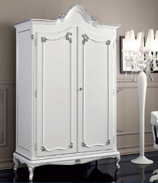 Armadio bianco classico in stile Art Decguardaroba a due