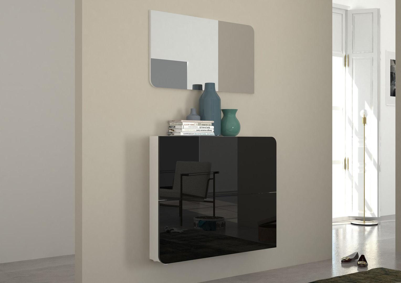Scarpiera Vita mobile ingresso bianco o nero con specchio