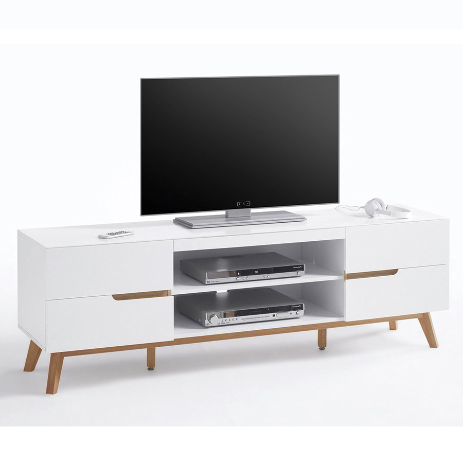 Alce porta tv bianco opaco e rovere mobile soggiorno moderno