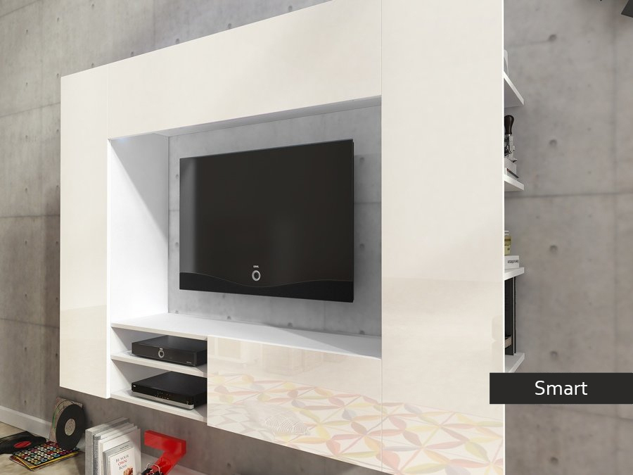 Soggiorno moderno bianco Smart mobile porta tv appeso