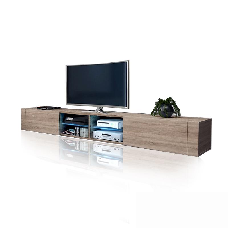 Homcom mobile porta tv classico da soggiorno con 2 ripiani, marrone 120x39.5x52cm. Mobile Soggiorno Tokyo 2 0 Porta Tv Moderno Con Led 200 Cm
