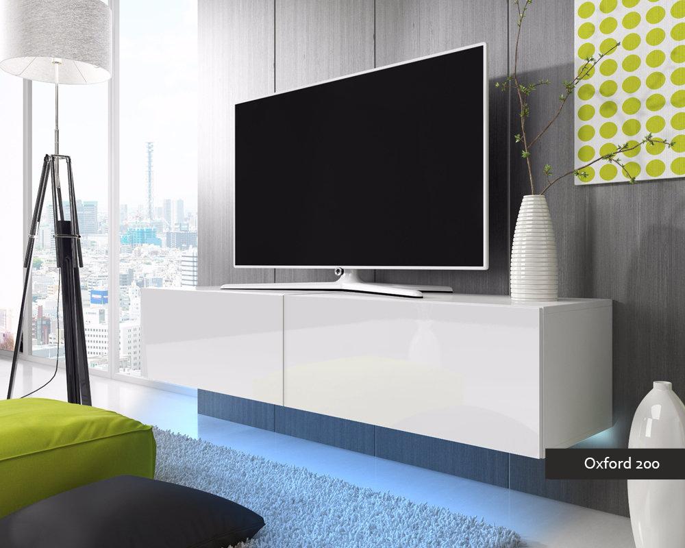 Porta tv Oxford 200 soggiorno con led blu o rosse mobile appeso