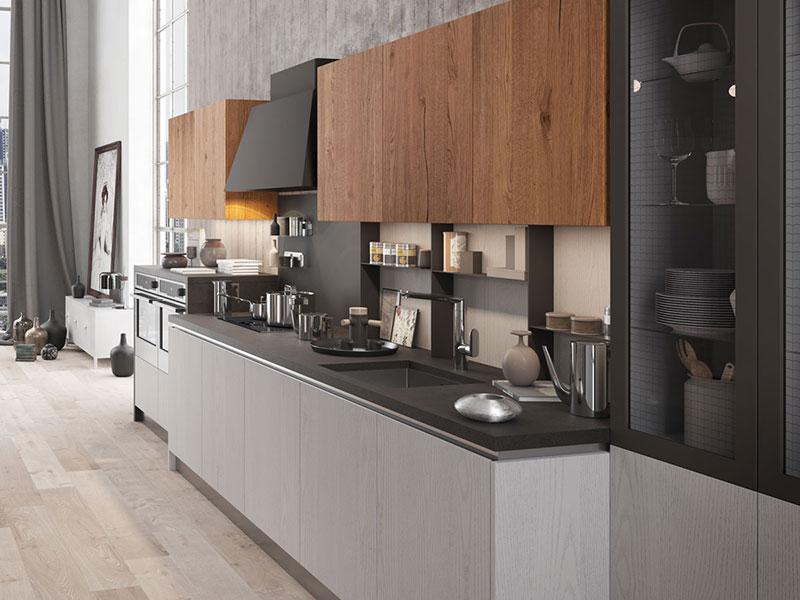 Cucina lineare con penisola  Arredamento Mobili