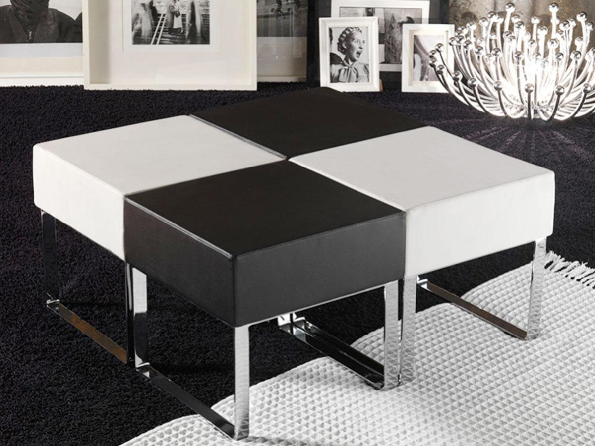 Pouf da salotto moderno bianco e nero  Arredamento Mobili ArredissimA