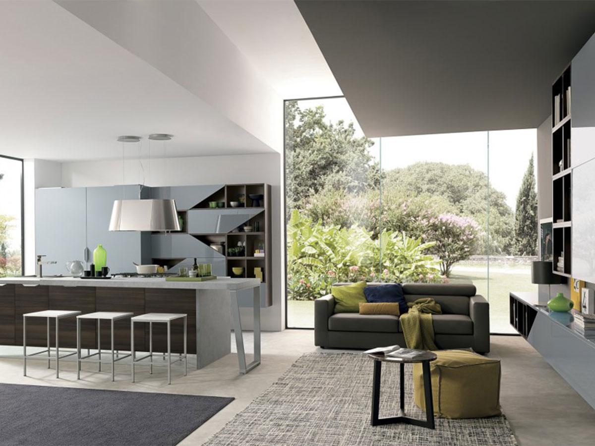 Cucina moderna con soggiorno  Arredamento Mobili