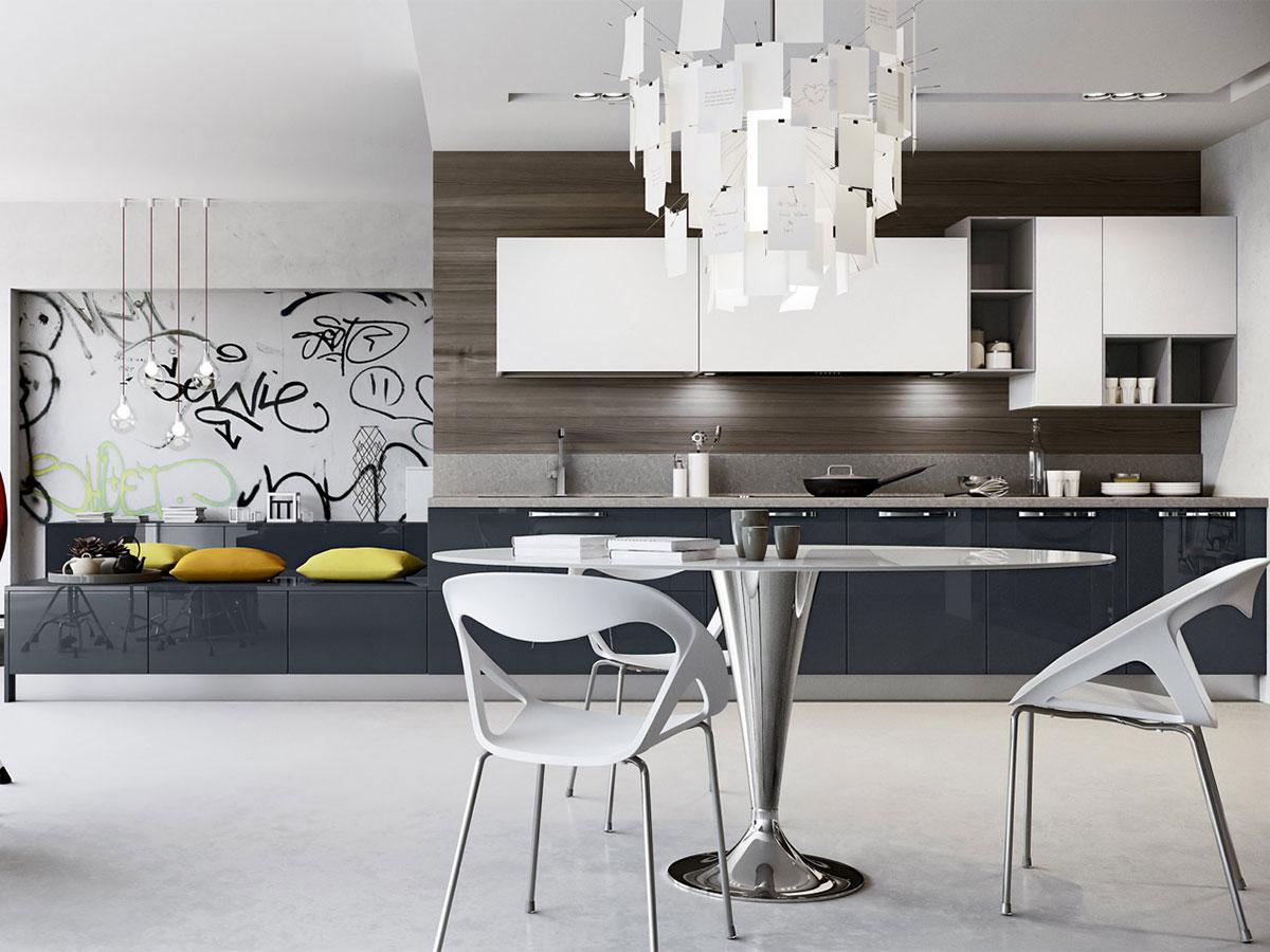 Cucina lineare moderna con soggiorno Arredo  Arredamento Mobili ArredissimA