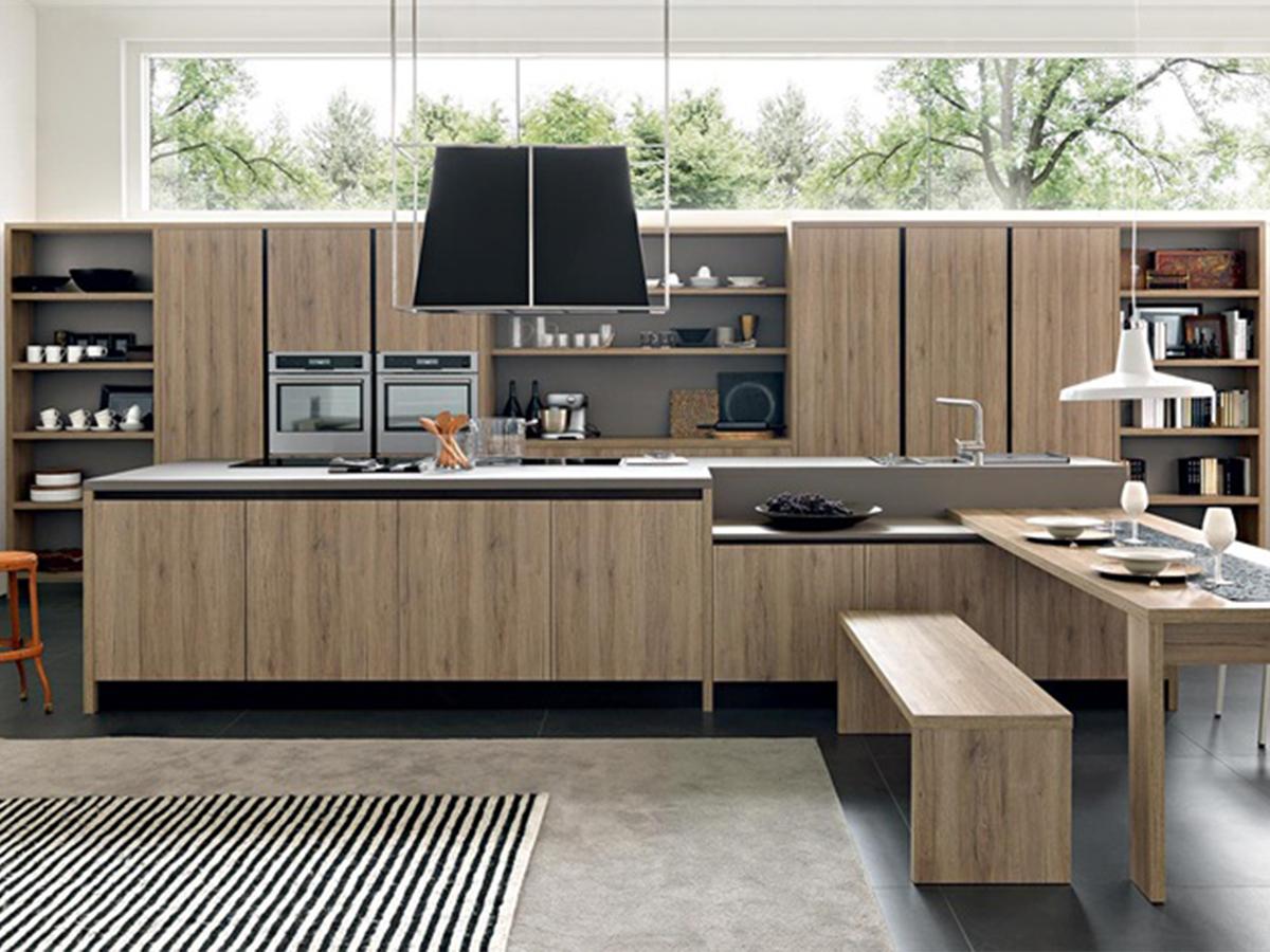 Cucina isola legno maniglia gola  Arredamento Mobili ArredissimA