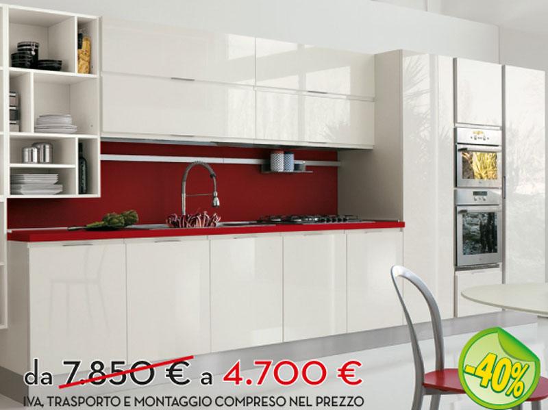 Cucina lineare bianca scontata  Arredamento Mobili