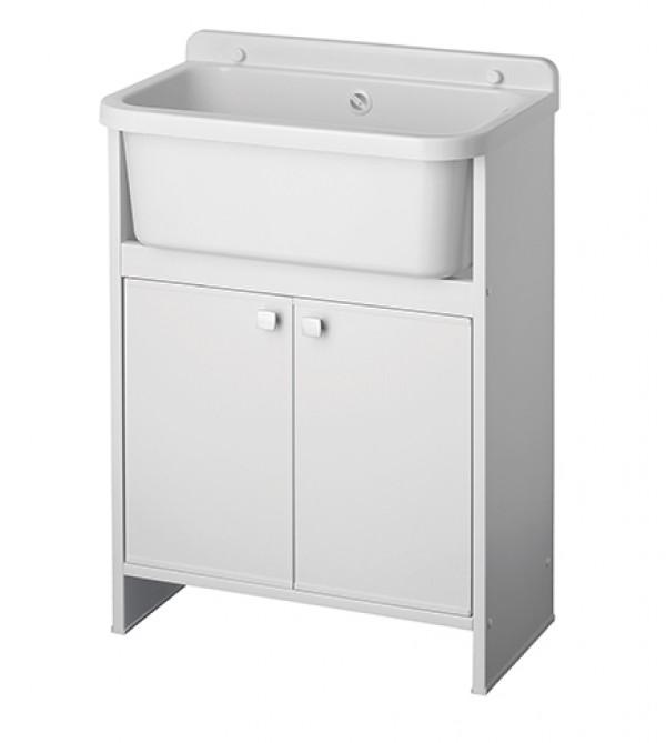Mobile lavatoio salvaspazio cm55x34x79 2 antevasca lavapanni in PP antiacido Arredobagno e