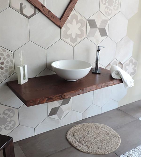 Mensola piano dappoggio porta lavabo in legno massello