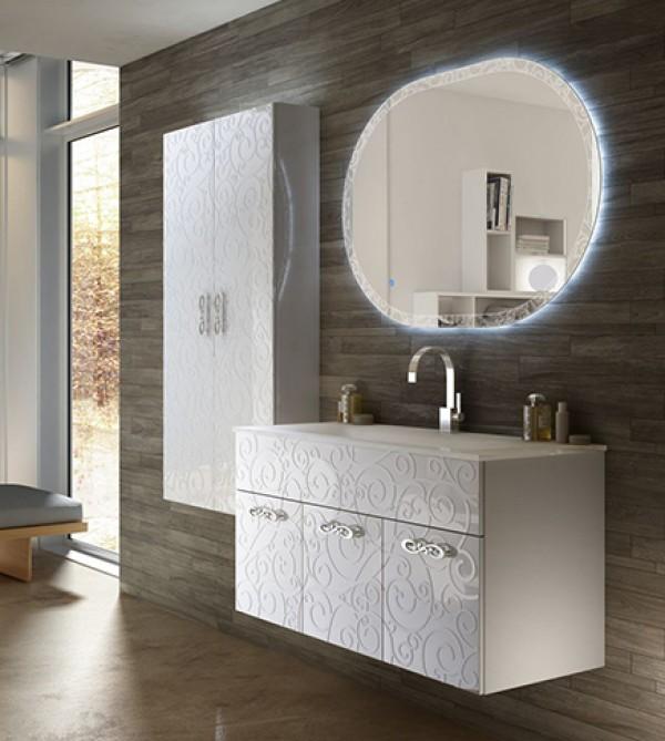 Mobile bagno sospeso moderno Floreale Miami bianco lucido