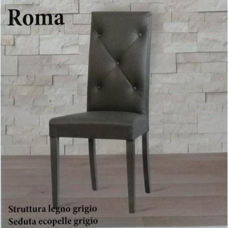 Sedie di design, sedie trasparenti e sedie ergonomiche, tutte impilabili. Sedia Roma Ecopelle Grigio Struttura Legno Grigio Arredo Casa